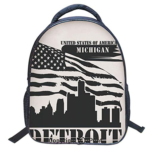Designer Original Art Print Casual Backpack,Travel Backpack 16Inch Laptop Bag,16 inch,Monochrome Grunge City Silhouette American Flag United States Michigan - Michigan Enamel