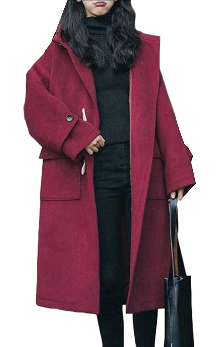 1 jxfd Womens Winter Coat Long Wool Blended Hooded Pea Coat Jacket