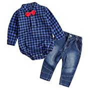 Baby Boy Outfit, Toddler Clothing Set Children Jeans + Romper Shirt with Bow Tie Blue 80(6-12 Month)