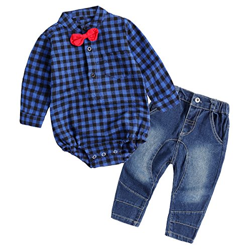 [Baby Boy Outfit, Toddler Clothing Set Children Jeans + Romper Shirt with Bow Tie Blue 95(18-24] (Baby Batgirl Outfit)