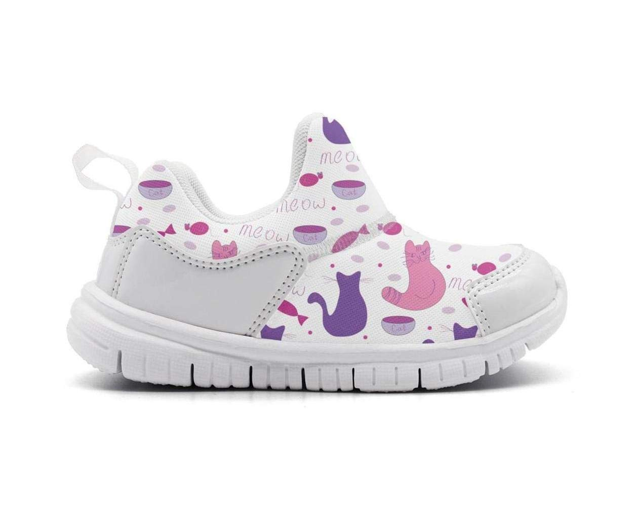 ONEYUAN Children Kitten Cats Fish Meow Kid Casual Lightweight Sport Shoes Sneakers Running Shoes
