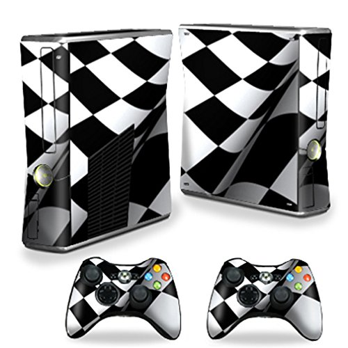 MightySkins Protective Vinyl Skin Decal Cover for Microsoft Xbox 360 S Slim + 2 Controller skins wrap sticker skins Checkered Flag