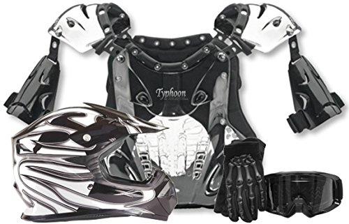 Kids Youth Offroad Helmet Gloves Goggles Chest Protector GEAR COMBO Motocross ATV Dirt Bike - Black (Small)