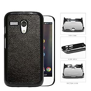 Genuine Leather Design Look Hard Plastic Snap On Cell Phone Case Motorola Moto G