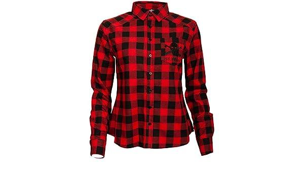 FC St. Pauli - Camisa de franela para mujer, diseño a cuadros, color negro y rojo: Amazon.es: Deportes y aire libre