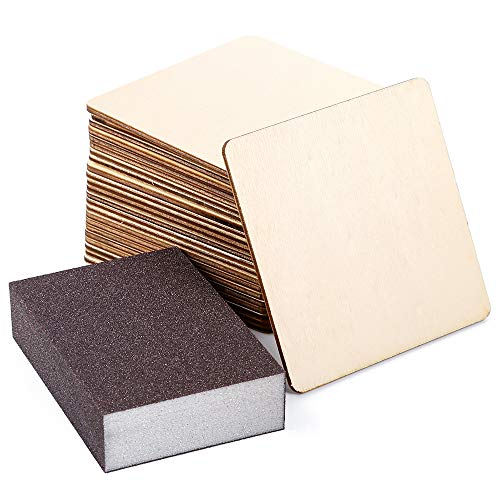 Caydo 24 Pieces 4 Inch Square Unfinished Blank Wood Squares Slices Unfinished Wood Cutouts with Sanding Sponge for Pyrography, Painting, Writing, Drinks DIY Craft, Photo Props and Decoration