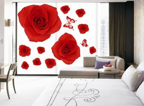 NLC Home Decor Decals Poster House Wall Stickers Quotes Removable Vinyl Large Wall Sticker for Kids Rooms Dining Room Big Rose Flower