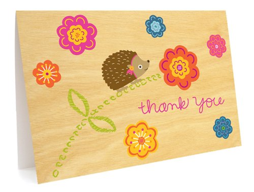 Birch Hedgehog Thank You Cards, 6-Pack by Night Owl Paper Goods