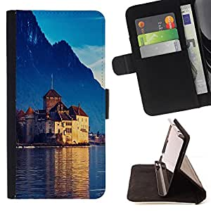 BullDog Case - FOR/Sony Xperia M2 / - / Castle In Switzerland /- Monedero de cuero de la PU Llevar cubierta de la caja con el ID Credit Card Slots Flip funda de cuer