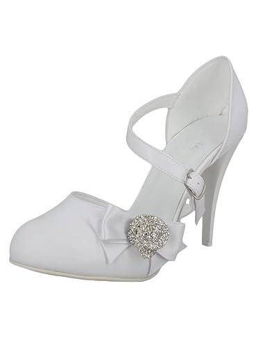 Boutique-Magique Chaussures Mariage Femme Blanc ou Ivoire nœud avec Bijou e1389c670d21