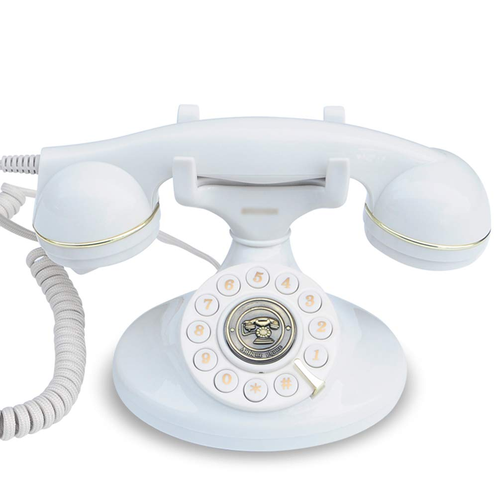 Retro Line Home Fixed Landline Antique European Office Telephone Garden Creative Fashion Phone,White by Telephone