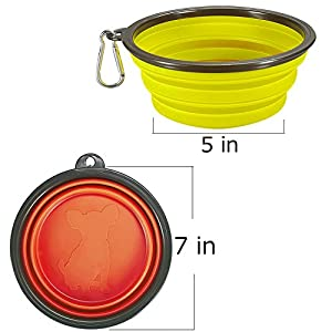 COMSUN 2-pack Extra Large Size Collapsible Dog Bowl, Food Grade Silicone BPA Free, Foldable Expandable Cup Dish for Pet Cat Food Water Feeding Portable Travel Bowl Orange and Yellow Free Carabiner