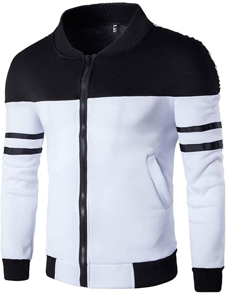 vermers Men Casual Coat Fashion Mens Autumn Winter Zipper Sportswear Patchwork Jacket Long Sleeve Coat