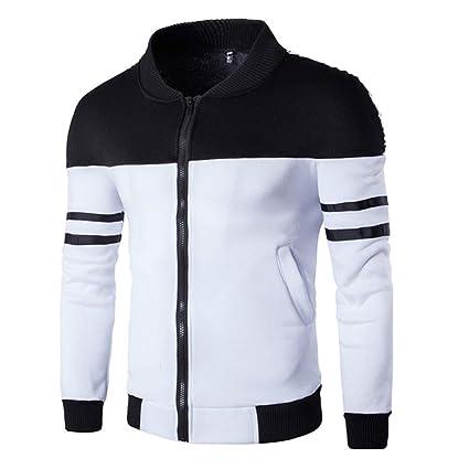Dreamyth Mens Autumn Winter Zipper Sportswear Patchwork Jacket Long Sleeve Coat (Black, M Bust