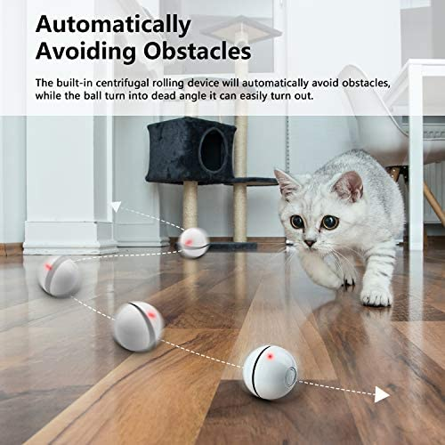 UNZANO Interactive Cat Toys for Indoor Cats with Built-in Red Led Light, USB Rechargeable, Auto Twists and Turns Cat Ball Toy & Chasers to Encourage Your Pet's Exercise, Chasing & Hunting Ability 5