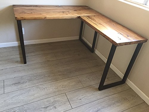 Loading Images. - L Shaped Desk - Reclaimed Wood With Metal Base