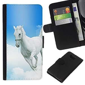 - GOD CHRISTIAN MUSTANG WHITE BLUE HORSE HEAVEN - - Prima caja de la PU billetera de cuero con ranuras para tarjetas, efectivo desmontable correa para l Funny House FOR Samsung ALPHA G850