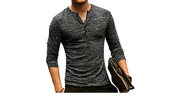 0a247ada897c Mirror Mens Fashionable Button Down Long Sleeve Fitted T-Shirt Top Pullover  Tees | Amazon.com