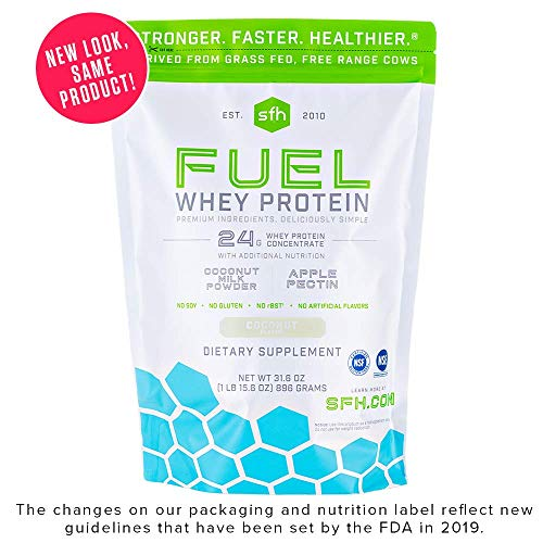 - Fuel Whey Protein Powder (Coconut) by SFH | Great Tasting Grass Fed Whey | MCTs & Fiber for Energy | All Natural | Soy Free, Gluten Free, No RBST, No Artificial Flavors | 28 Servings (2 lb Bag)