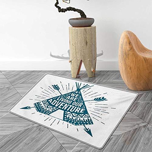 (Adventure Floor Mat for Kids Teepee Crossed Arrows We are Living Our Adventure Inspirational Quote Door Mat Increase 4'x5' Dark Petrol Blue)