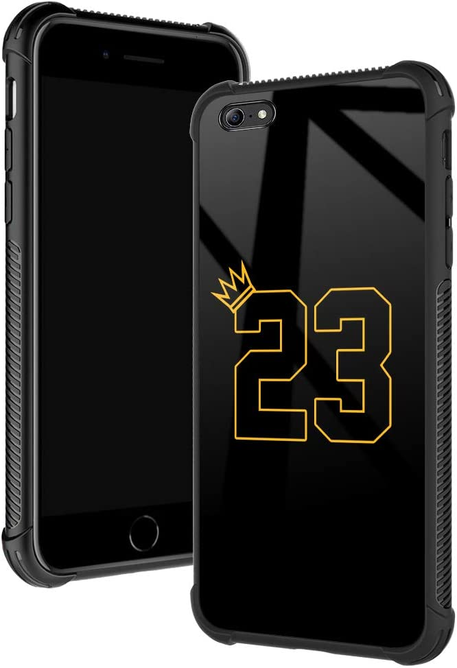 iPhone 6s Plus Case,Basketball King 23 iPhone 6 Plus Cases for Boys/Men,Fashoin Design Four Corners Shock Absorption Non-slip Stripe Soft TPU Bumper Frame Case for iPhone 6/6s Plus 5.5inch Yellow Crow