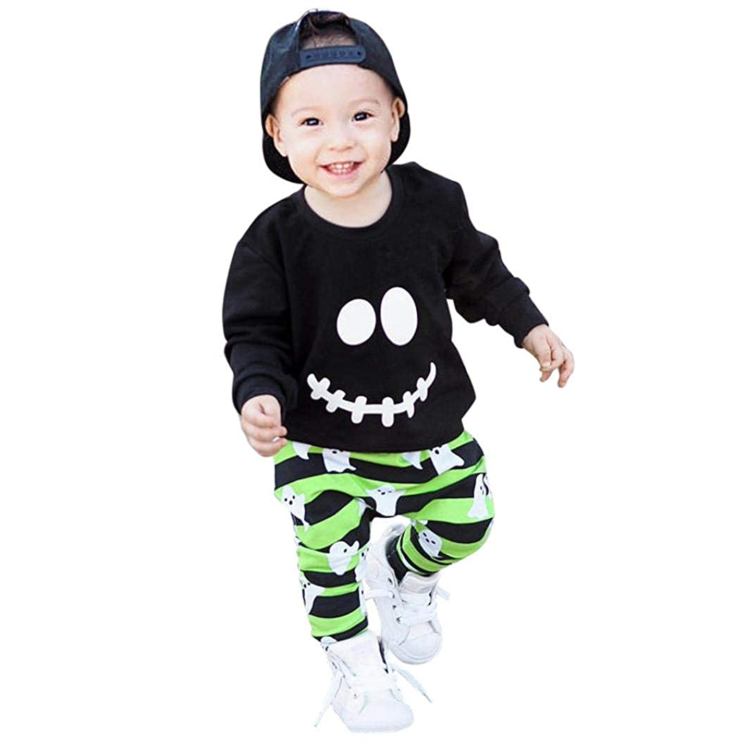 Zarupeng Toddler Baby Boys Girls Cartoon Ghost Tops Pullover Pants Conjunto de Trajes de Halloween