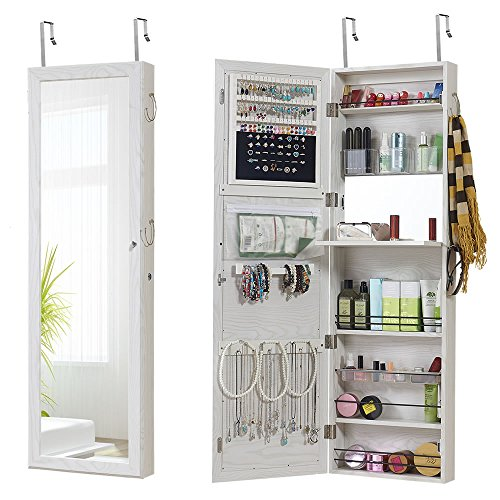 GISSAR Jewelry Mirror Armoire Wall Mount Over The Door, Mirror Jewelry Cabinet Storage Organizer Lockable(White)