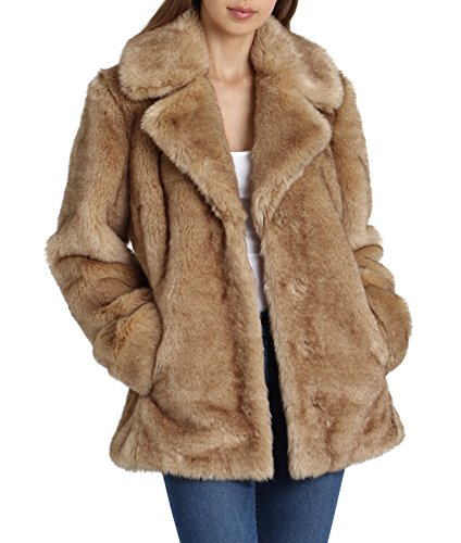 Avec Les Filles Women's Faux Fur Mid Length Coat with Notch Collars, Natural, Large