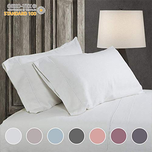 Simple&Opulence 100% Linen Embroidery Solid Sheet Set (King, White)