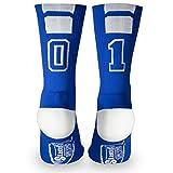Custom Team Number Crew Socks | Athletic Socks by ChalkTalkSPORTS | Blue | 01