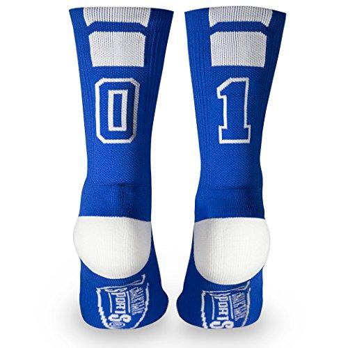 Impost Team Number Crew Socks | Athletic Socks by ChalkTalkSPORTS | Blue | 01