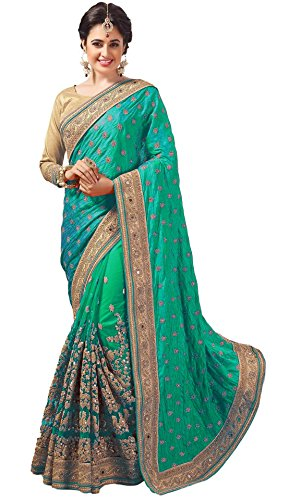 Nivah Fashion Women's Net Dhupion Silk Real Diamond With Embroidery Dori Work Saree Green...K605A by Nivah Fashion