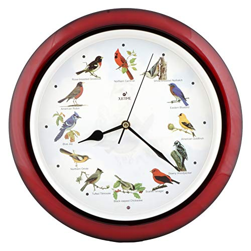 Lovely Collection 14-inch Plays 12 Popular North American Bird's Songs Wall Clock Mantel Clock Home Deco Multicolor (Mahogany) (Bird Chime Clock)