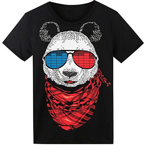 Dress Hip Hop (LED T Shirt Sound Activated Funny Shirts Light Up Equalizer Animation Clothes Fancy Dress for Party Hiphop Halloween Concert Cosplay Birthday Gift with Panda Design, Bonus Glow Bracelet)