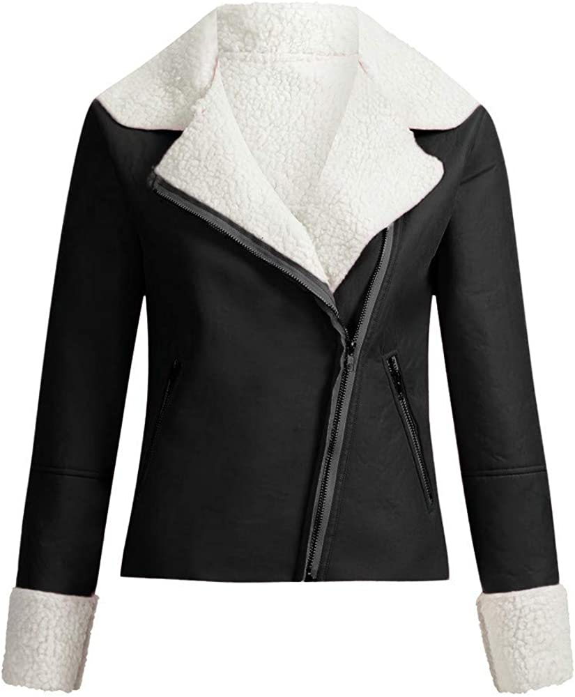 AKIMPE Womens Causal Jacket Open Front Thickened Lined Lapel Coat Sports Classic Slim Outdoor Outwear with Pocket