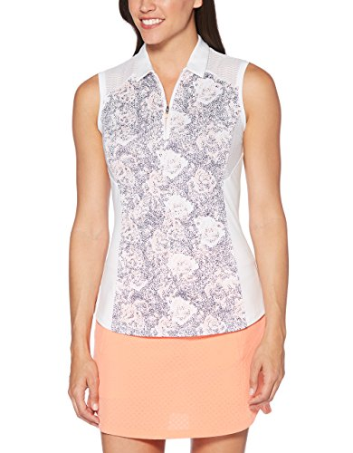 Ladies Sleeveless Callaway - Callaway Women's Ventilated Print Sleeveless Golf Polo, Bright White, Large