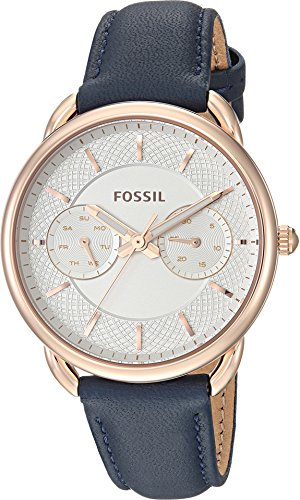 Fossil Women's 'Tailor' Quartz Stainless Steel and Leather Casual Watch, Color:Blue (Model: ES4260) by Fossil