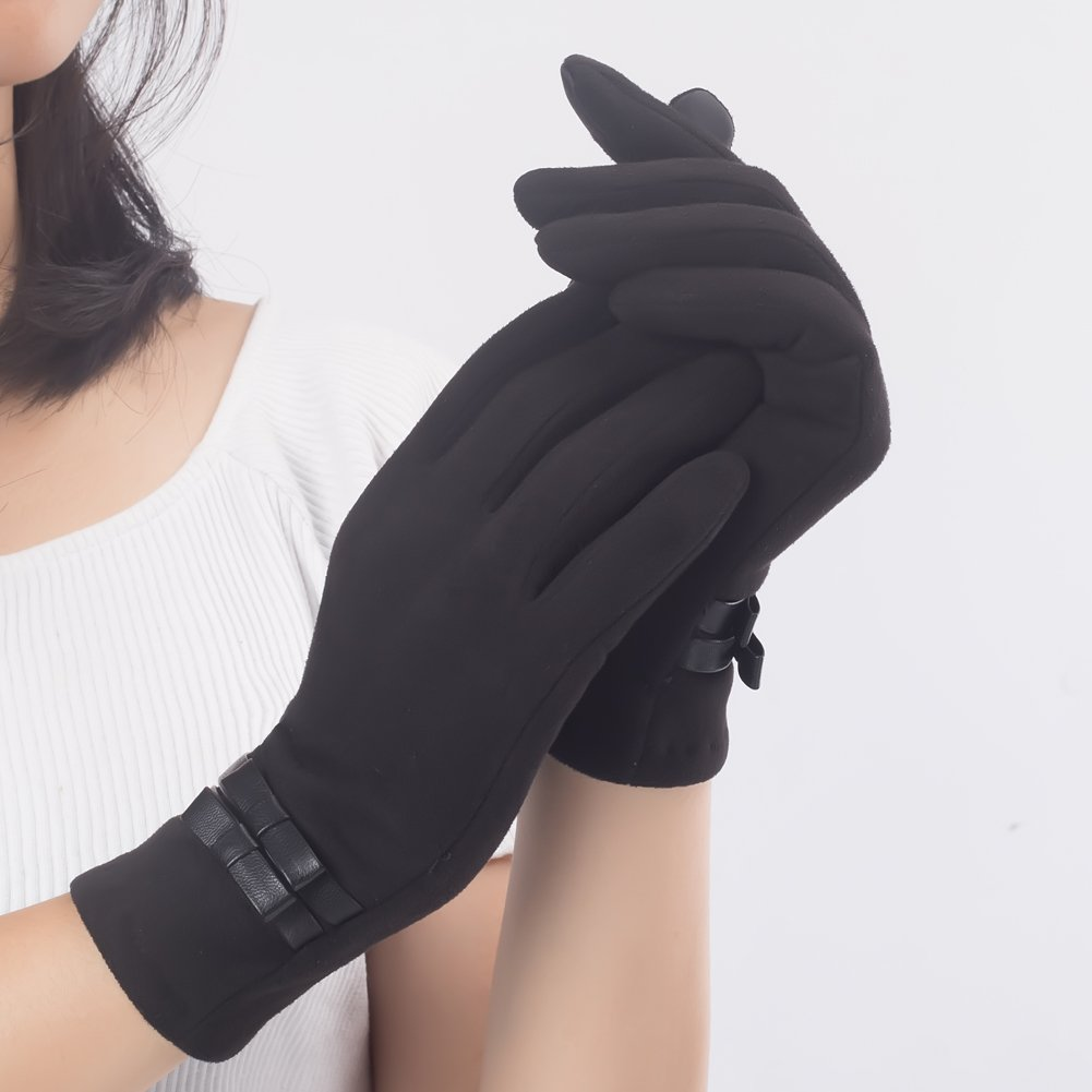 Womens Winter Warm TouchScreen Gloves Texting Driving Lined Thick Black Gloves