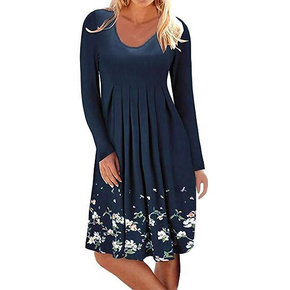 Lenfesh Camisa Larga Mujer,Vestidos Largos Mujer Flor Impresión Vestir Casual Vestido Plisado de Estampado