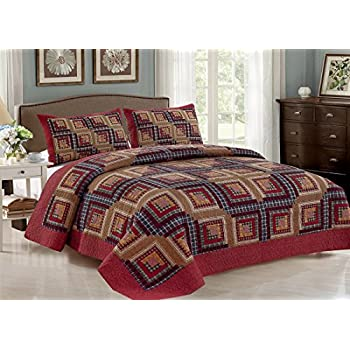 Image of Home and Kitchen AHT Cedar Creek Log Cabin - 4 Pc King Quilt Bedding Set (Includes King Size Quilt, 2 Standard Size Shams and 1 Throw Blanket)