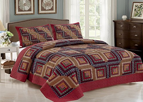 AHT Cedar Creek Log Cabin - 4 Pc King Quilt Bedding Set (Includes King Size Quilt, 2 Standard Size Shams and 1 THROW BLANKET) (Log Cabin Throw Quilt)