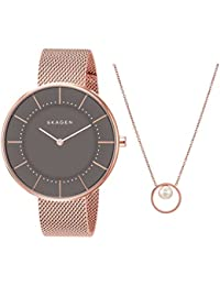Women's SKW1089 Gitte Steel-Mesh Watch and Agnethe Necklace Box Set