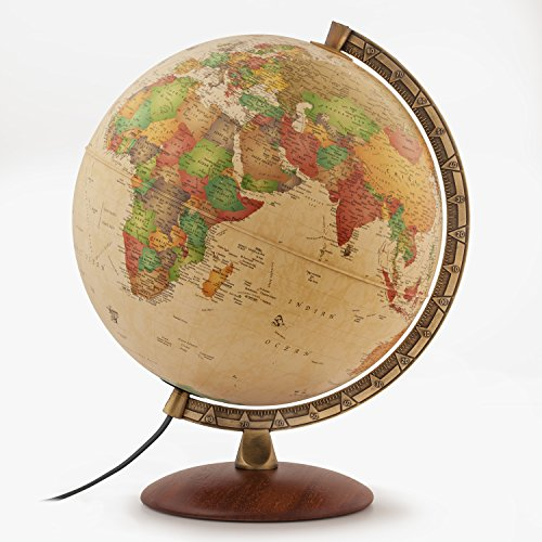 Waypoint Geographic Como 12  Desktop Globe With Metal Numbered Meridian And Wood Base For Home   Office  Classic Antique Ocean  World  Beige  2 5 Lb