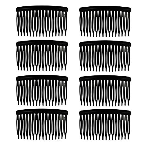 Provone 8pcs Vintage Hair Combs Plastic Side Hair Combs With 16 Teeth For Fine Hair Accessory For Women Girls(Black)