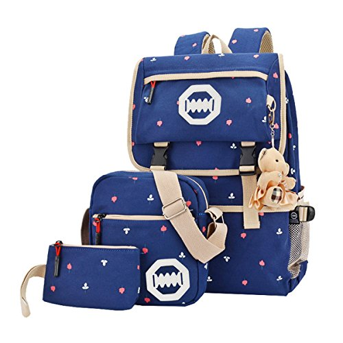 Bolsa de ordenador portátil bolsa de hombro Escuela Mochila Casual ligero lienzo juego de 3