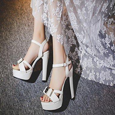 LvYuan Mujer Sandalias Semicuero PU Verano Otoño Paseo Pajarita Tacón Robusto Blanco Azul Rosa 10 - 12 cms White