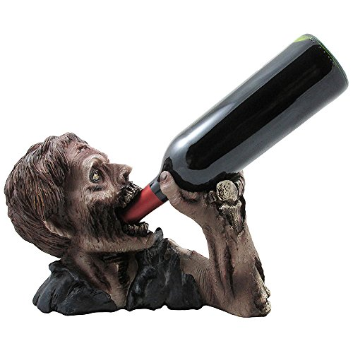 Decorative Graveyard Zombie Wine Bottle Holder Statue for Scary Halloween Party Decorations, Medieval & Gothic Sculptures As Ghoulish Bar Display Racks & Stands Decor or Funny Whimsical Gifts -