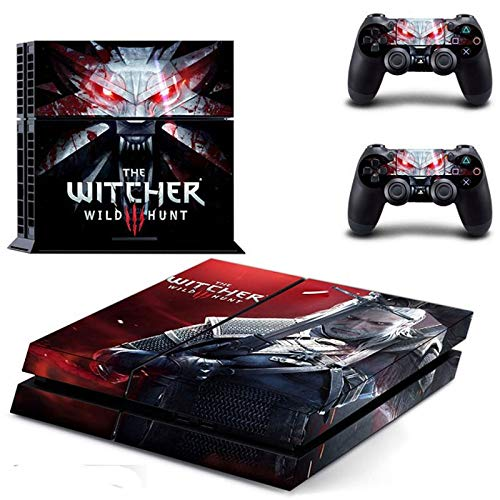 PS4 Skins Console, PS4 Skins Controller (2 Controllers) - The Witcher 3 Vinyl Skin Sticker Decal Cover for Playstation 4 Console and Controllers (Wwe Cover Ps4 Skin)