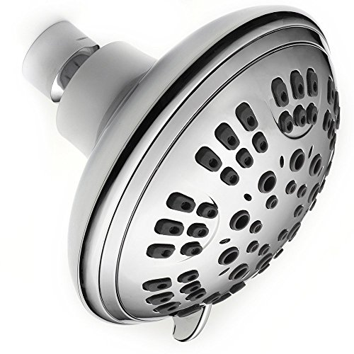 Powerful Shower Head Limited Edition - Luxury Shower Head with Filter - Shower Head 6 Spray Settings - Relaxing Luxury Showers - Massaging Shower Head 4 inch with Teflon-Chrome Finish - Saves Water