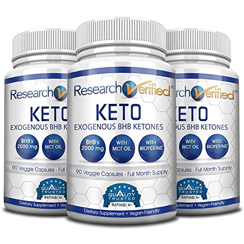 Research Verified Keto - Vegan Keto Supplement with 4 Exogenous Ketone Salts (Calcium, Sodium, Magnesium and Potassium) and MCT Oil to Boost Energy, Weight Loss and Focus in Ketosis - 3 Bottles by Research Verified (Image #5)